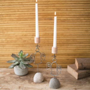 Set Of Two Wire Angel Taper Candle Holders On Rock Bases