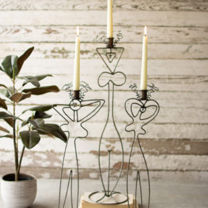 Set Of Three Wire Abstract Ladies Taper Candle Towers