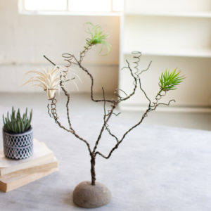 Wire Tree Air Plant Holder On A River Rock Base