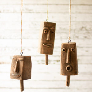 Set Of Three Clay Face Hanging Bells