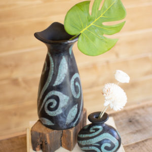 Set Of Two Black And Turquoise Lenca Vases