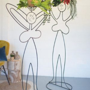 Set Of Two Iron Lady Pot Heads