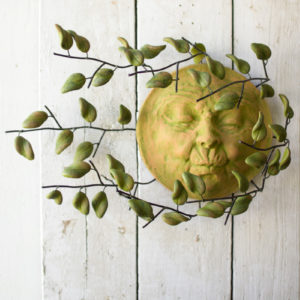 Wall Hanging Wind Blown Sun Face With Clay Leaves