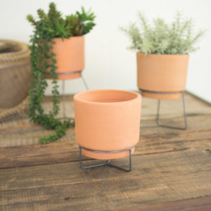 Set Of Three Natural Clay Planters With Wire Bases