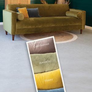 Velvet Sofa With Two Bolster Pillows - Steel Blue