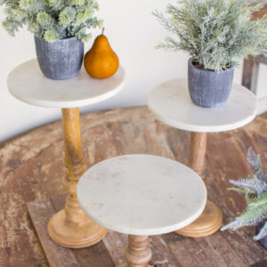 Set Of Three Wooden Display Stands With White Marble Tops