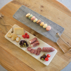 Grey Marble Long Cutting Board W/Rope Handle
