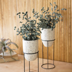 Set Of Two Terrazzo Planters Stands With Iron Stands #2