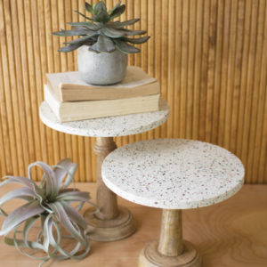 Set Of Two Terrazzo Pedestals With Wood Bases
