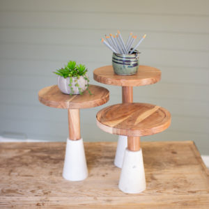 Set Of Three Wood Top Risers With Stone Bases