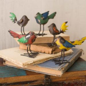 Set Of Five Recycled Metal Birds
