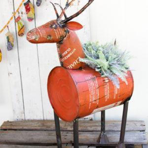 Red Reclaimed Metal Barrel Deer Cooler/Planter