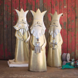 Set Of Three Nickel And Brass Finish Kings