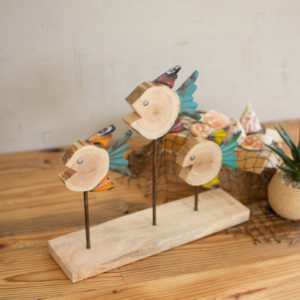 Set Of Three Recycled Wood And Metal Fish On A Stand