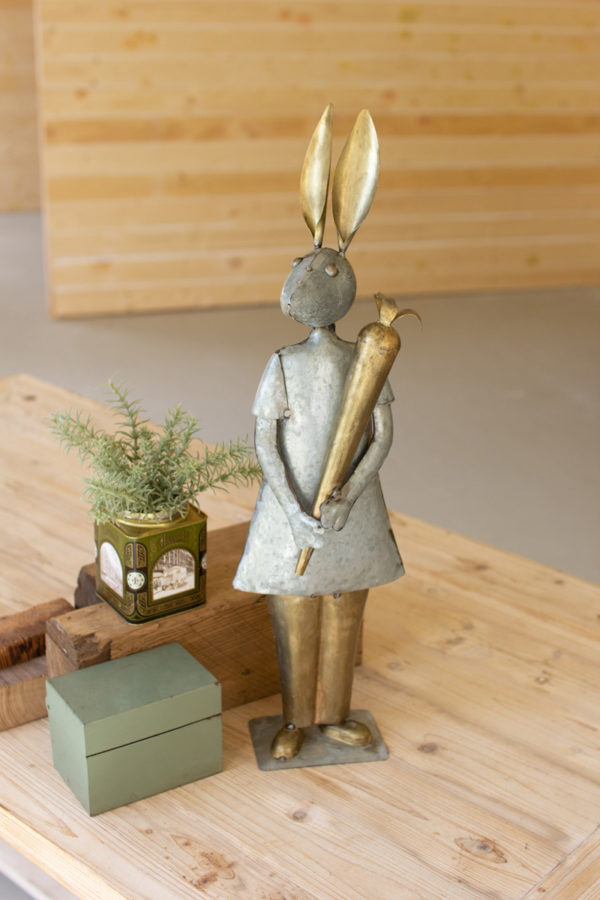 Galvanized And Brass Rabbit With Carrot