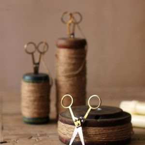 Set Of 3 Wooden Spools With Jute Twine And Scissors