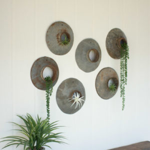 Set Of Six Repurposed Metal Wall Hangings