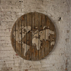 Repurposed Wooden Spool World Map