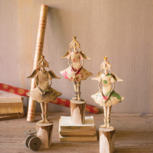 Set Of Three Painted Recycled Metal Angels On Wooden Bases