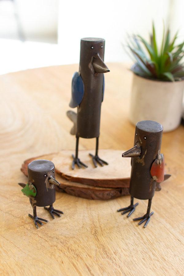 Set Of Three Recycled Metal Birds