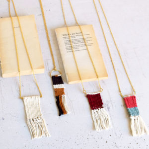 Set Of Four Antique Brass With Woven Cotton Necklaces