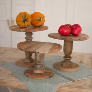 Set Of Three Recycled Wooden Display Stands