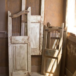 Set Of Two Repurposed Matching Wood And Iron Saloon Doors