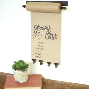 Hanging Note Roll With 4 Brass Finish Clips-11In