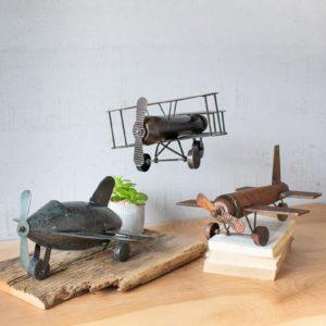 Set Of Three Metal Airplanes