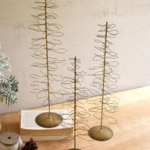 Set Of Three Antique Brass Wire Trees