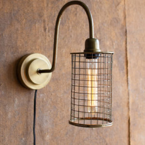 Antique Brass Wall Lamp With Wire Mesh Shade