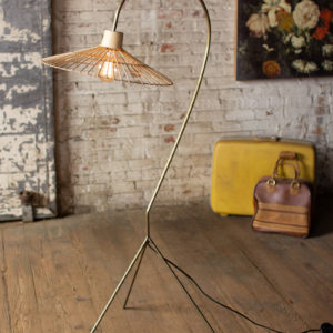 Antique Brass Finish Floor Lamp With Rattan Umbrella Shade