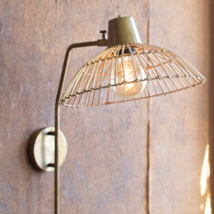 Antique Brass Finish Wall Lamp With Rattan Shade