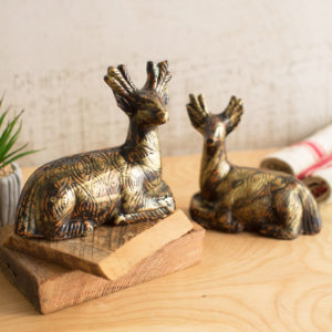 Set Of Two Clay Deer With Gold And Copper Accent