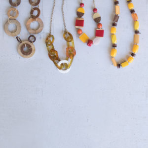 Set Of Four Assorted Colorful Wooden Necklaces