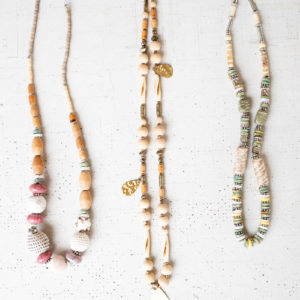Set Of Three Necklaces With Beads