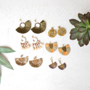 Set Of Six Earrings With Brush Detail