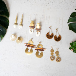 Set Of Six Earrings With Brass Detail