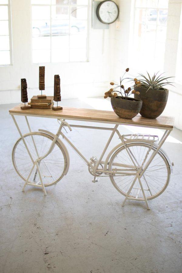 Repurposed Bicycle Display Shelf - White
