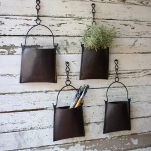 Hanging Iron Pocket Bucket With Chain - (Includes 4)