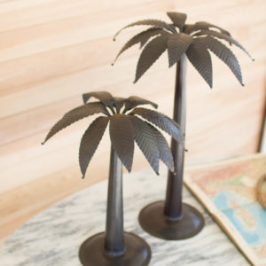 Set Of Two Metal Palm Trees - Antique Black