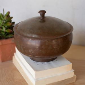 Rustic Iron Round Container With A Lid
