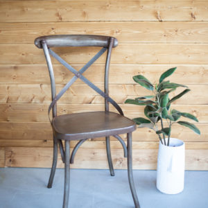 Rustic Iron Cross Back Dining Chair - (Includes 2)