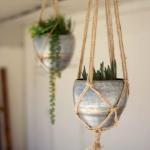 Set Of Two Hanging Galvanized Planters With Woven Jute Rope