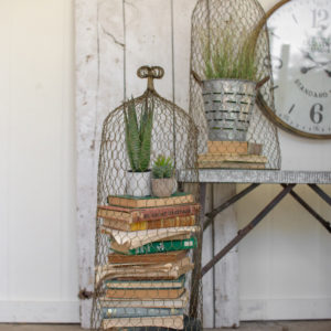 Set Of Two Wire Cloche Topiaries-Old Gold