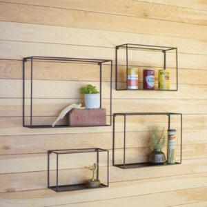 Set Of Four Wall Shelves - Black