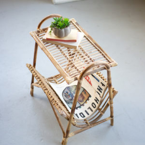 Cane Magazine Rack Table
