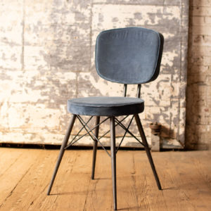 Velvet Dining Chair With Iron Frame - Steel Blue