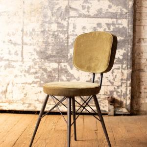 Velvet Dining Chair With Iron Frame - Avocado