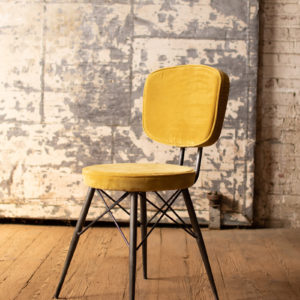 Velvet Dining Chair With Iron Frame - Honey